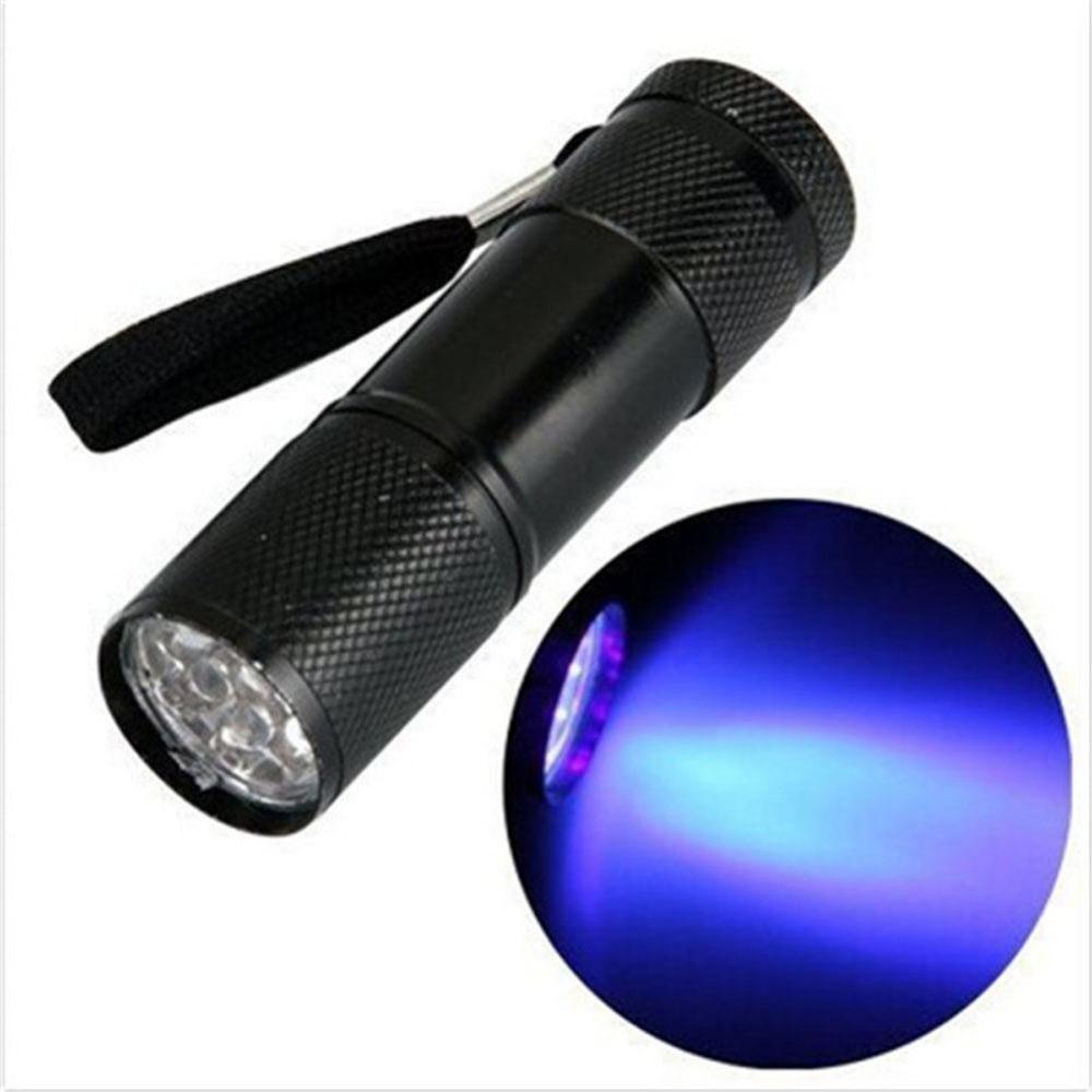Mini zaklamp 9 LED Aluminium UV Ultra Violet paars licht