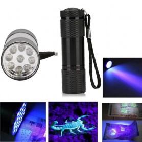 NedRo - Mini zaklamp 9 LED Aluminium UV Ultra Violet paars licht - Zaklampen - LFT30-C www.NedRo.nl