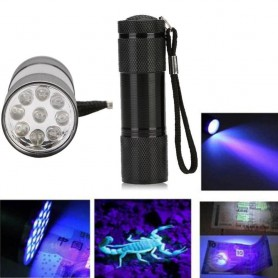 NedRo - Mini 9 LED Aluminium UV Ultra Violet Flashlight purple light - Lanterne - XXWHN www.NedRo.ro