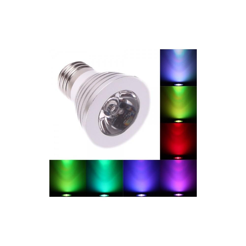 NedRo - Spot LED E27 3W 16 culori reglare intensitate cu telecomanda AL131 - E27 LED - AL131 www.NedRo.ro