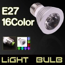 NedRo - E27 3W 16 klueren RGB LED lamp met afstandsbediening AL131 - E27 LED - AL131 www.NedRo.nl