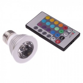 NedRo - E27 4W 16 Color Dimmable LED Bulb with Remote Control - E27 LED - AL131 www.NedRo.us