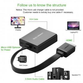 UGREEN - HDMI to VGA+3.5MM Audio+Mirco USB converter - HDMI adapters - UG102 www.NedRo.nl