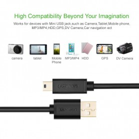 UGREEN - USB 2.0 A Male To Mini-USB 5 Pin Male cable Gold-plated - USB to Mini USB cables - UG116-CB www.NedRo.us