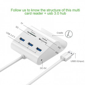 UGREEN - 3-Port USB 3.0 Hub with Card Reader and Cradle UG127 - Porturi si huburi - UG127 www.NedRo.ro