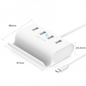 UGREEN, USB-C Type C 4 Ports High Speed HUB with 0.5 m Cable UG135, Ports en Hubs, UG135, EtronixCenter.com