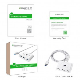 UGREEN - USB 3.0 HUB 4 port - Ports and hubs - UG141-CB www.NedRo.us