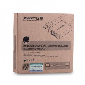 UGREEN, Mini Display Port to VGA Female Converter Aluminium Case UG147, VGA adapters, UG147, EtronixCenter.com
