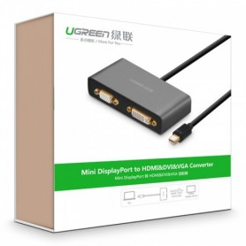 UGREEN, 3in1 Mini DisplayPort DP to HDMI/VGA/DVI converter, HDMI adaptoare, UG151-CB, EtronixCenter.com