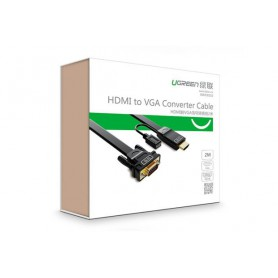 UGREEN, HDMI to VGA converter flat cable with Chipset in HDMI, Cabluri HDMI, UG170-CB, EtronixCenter.com