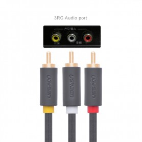 UGREEN - 3 RCA to 3 RCA Audio Cable Male to Male Aux Cable - Audio kabels - UG175-CB www.NedRo.nl
