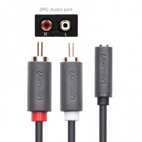 UGREEN - 3.5mm Audio Jack Female to 2RCA male cable - Audio cables - UG180-CB www.NedRo.us