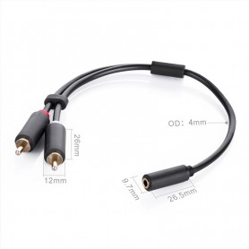 UGREEN - 3.5 mm audio jack female naar 2RCA male kabel - Audio kabels - UG180-CB www.NedRo.nl