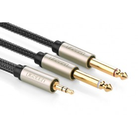 UGREEN - 3.5mm Audio Jack to 2 x 6.35mm Jack Y-Cable Splitter - Audio kabels - UG208 www.NedRo.nl