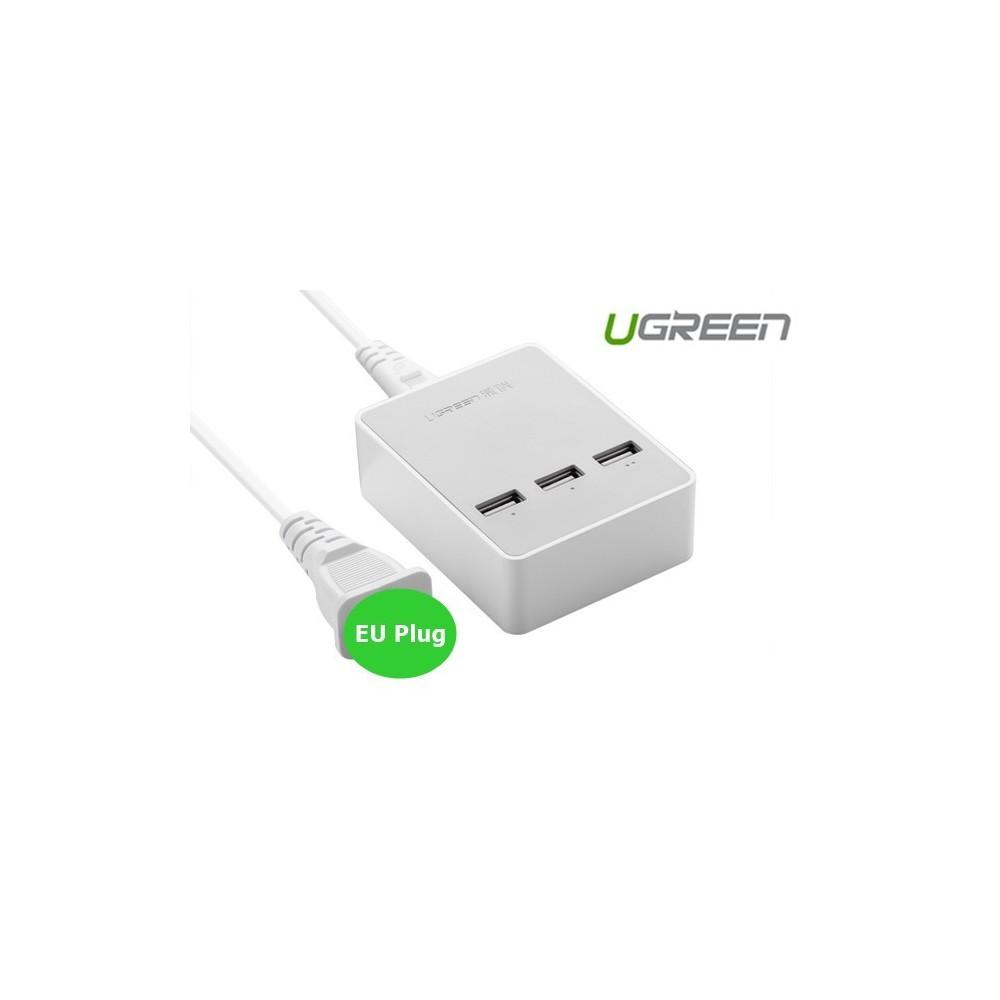 3 Port USB Charging Station Hub White UG216