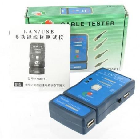 NedRo - Kabel Cable Tester LAN USB A/A A/B RJ45 RJ11 RJ12 - Netwerkgereedschap - YNK001 www.NedRo.nl
