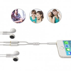 3.5mm Male to 2 x 3.5mm Female Slim Stereo Splitter