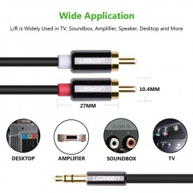 UGREEN - 3.5mm Jack male to 2RCA male cable metal connector - Audio cables - UG281-CB www.NedRo.us