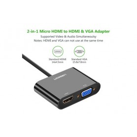 UGREEN, Micro HDMI to HDMI and VGA Converter Adapter, HDMI adaptoare, UG290-CB, EtronixCenter.com