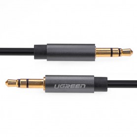 UGREEN - 3.5mm male to male Audio Jack cable Silver-Black - Audio cables - UG300-CB www.NedRo.us