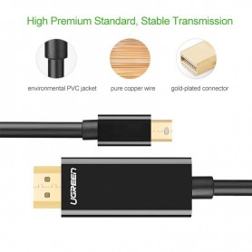 UGREEN, Mini Dislayport DP Male HDMI Male cable, Cabluri Displayport si DVI, UG330-CB, EtronixCenter.com