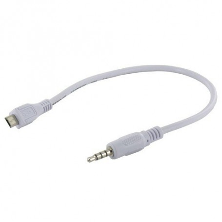 NedRo - Micro USB male naar Audio Jack 3.5mm male Kabel 30cm Wit YPU728 - Audio adapters - YPU728 www.NedRo.nl