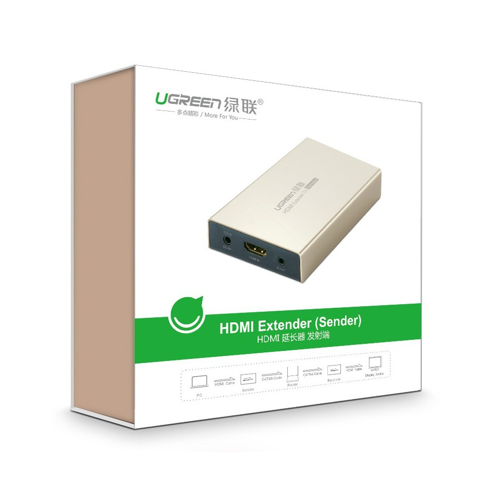 UGREEN - HDMI Single Extender Transmitter up to 120m (Sender) UG286 - HDMI adapters - UG286 www.NedRo.de