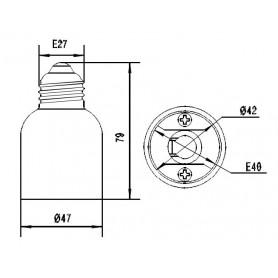 NedRo, E27 naar E40 Fitting Omvormer, Lamp Fittings, LCA46-CB, EtronixCenter.com