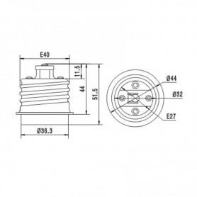 NedRo - E40 naar E27 Fitting Omvormer AL694 - Lamp Fittings - AL694 www.NedRo.nl