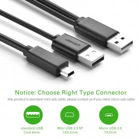 UGREEN, USB 2.0 A male ×2 to Mini 5pin Male Cable, USB to Mini USB cables, UG080-CB